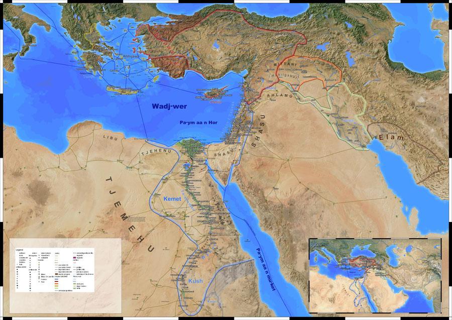 Landkarte des Nahen Ostens und des östlichen Mittelmeeraums in der späten Bronzezeit