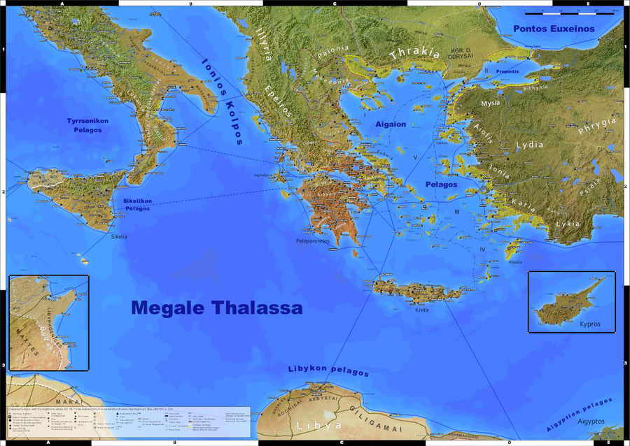 wall map of classical greece