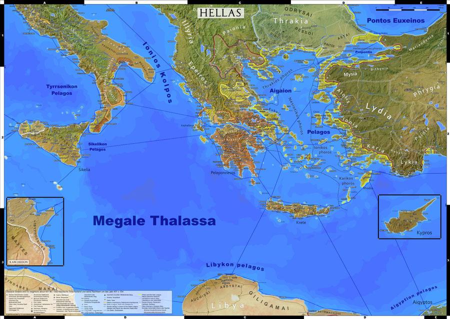 Altes, antikes Griechenland, Karte, Landkarte