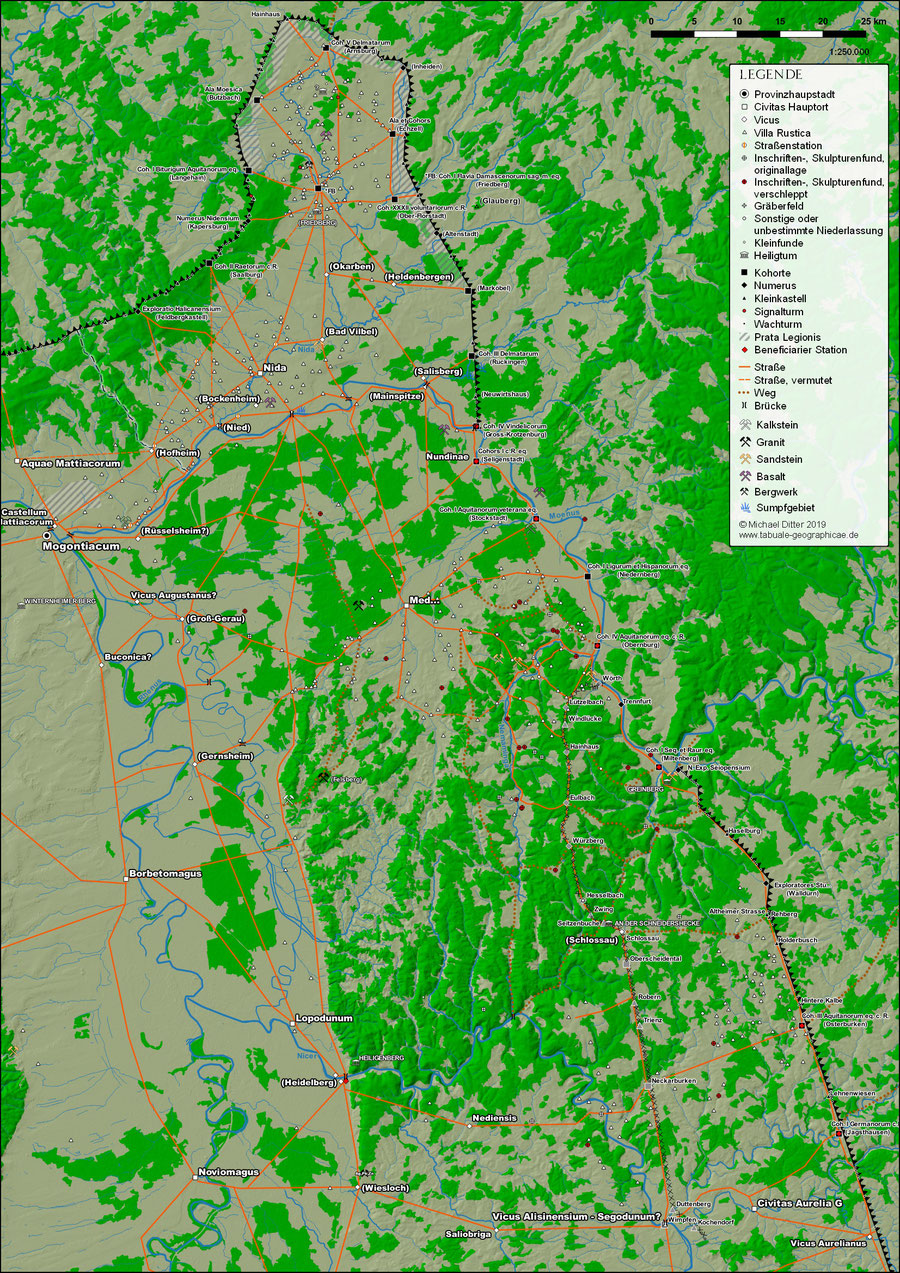 Agri Decumates, Karte des Dekuamtslandes