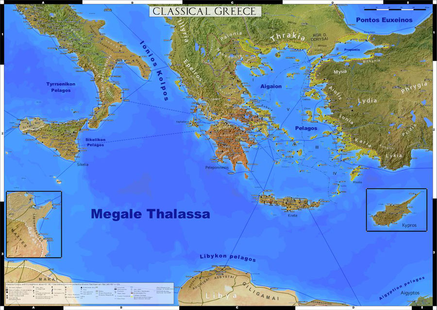 detailed wall map of classical greece