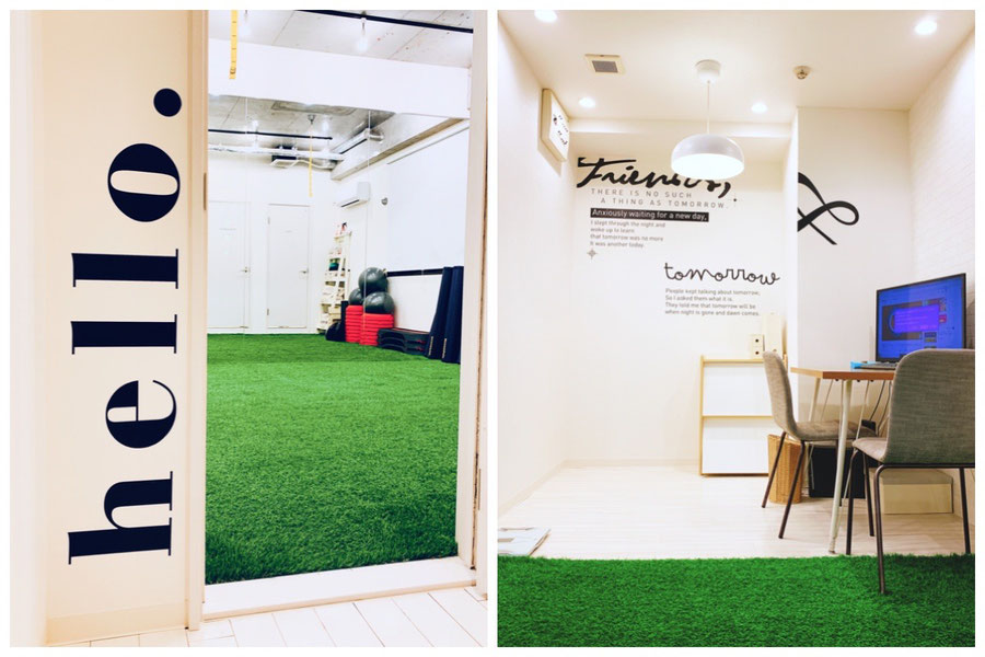 大阪市淀川区/新大阪スタジオ/大阪の幼児子供英会話ALOHAKIDSアロハキッズ、緑の人工芝で楽しく子供フィットネス、バイリンガルトレーナーで自然に英語が身につくキッズ英会話
