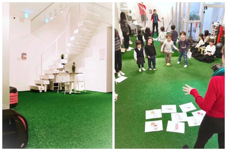 大阪市北区/天満橋スタジオ/大阪の幼児子供英会話ALOHAKIDSアロハキッズ、緑の人工芝で楽しく子供フィットネス、バイリンガルトレーナーで自然に英語が身につくキッズ英会話