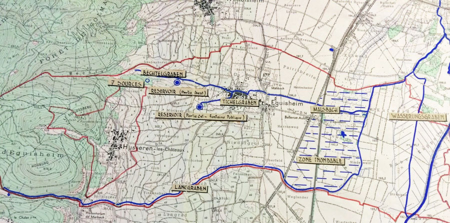 Plan Hydraulique de 1959 du ban d'Eguisheim