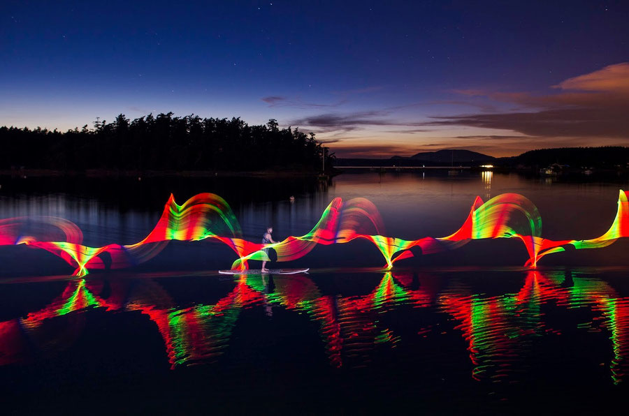 LED light painting at sunset (Ian Bell)