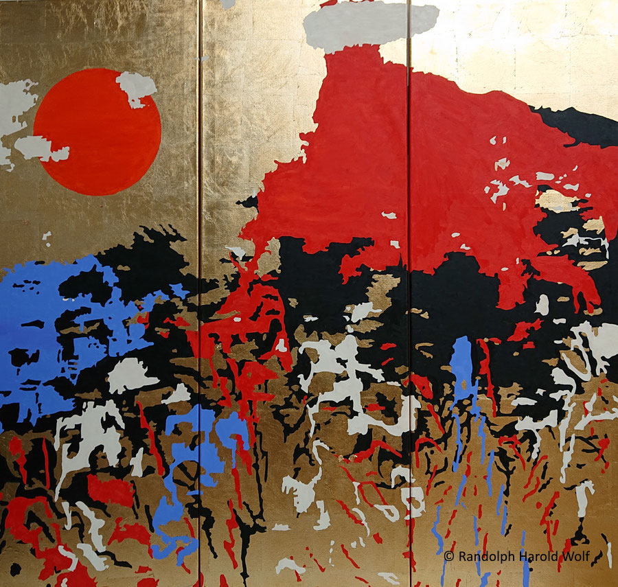 """""""After the Tempest"""". (2021) Folding screen, 150 cm x 150 cm made of three canvases with gold leaf and oil colors."""
