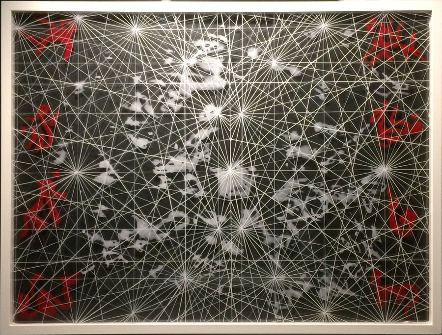 Maritime in red, white and black. 60 x 80 cm, with a black hardboard background and two panes of acrylic glass, individualized with glass colors.