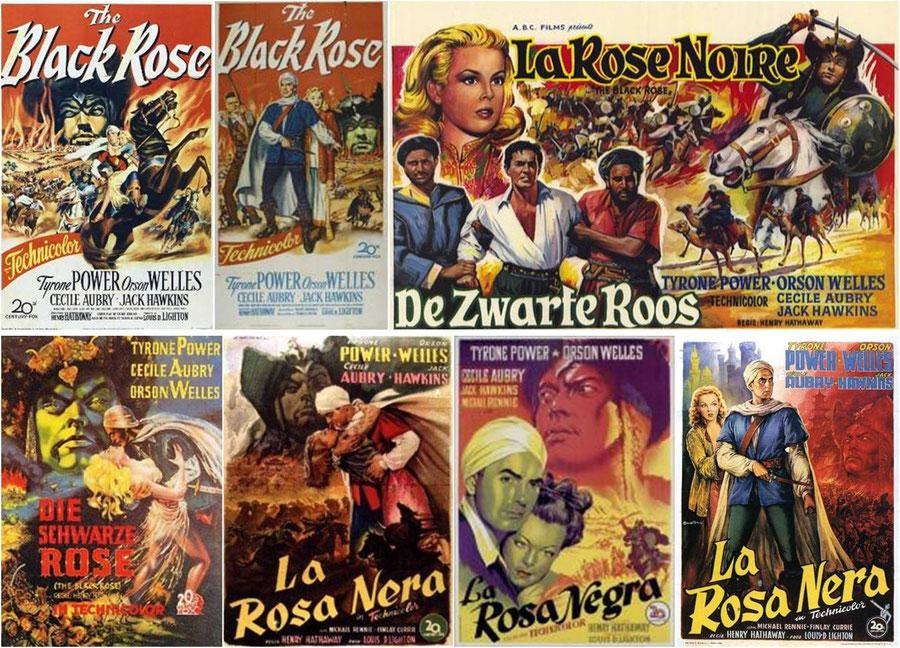 Affiches du film La Rose Noire de H Hathaway avec Tyrone Power, Orson Welles, Cécile Aubry et Jack Hawkins