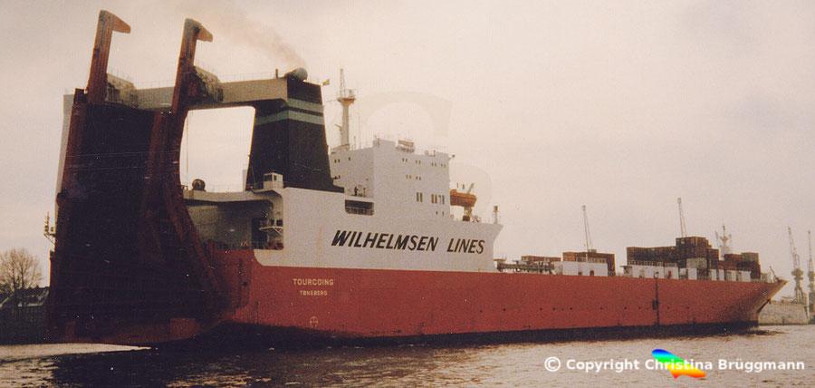 """Wilhelmsen Line Con-Ro Schiff """"TOURCOING"""" auslaufend in Hamburg 1996"""