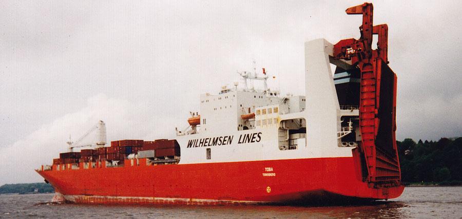 """Wilhelmssen Line Con-Ro Frachter """"TOBA"""" ausgehend Hamburg 1996"""