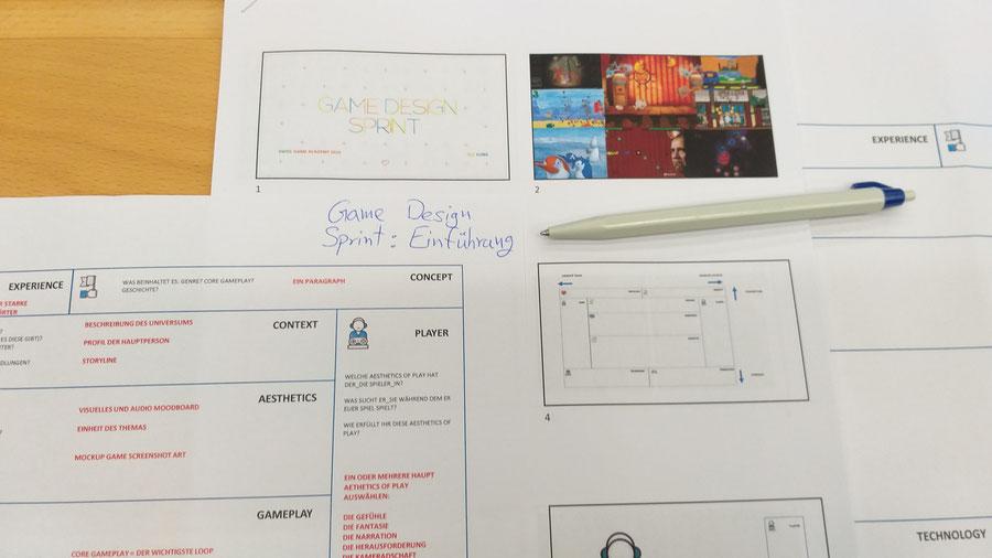 Links, ein Canva zum Game Design. Rechts dahinter, ein Auszug aus der Präsentation.