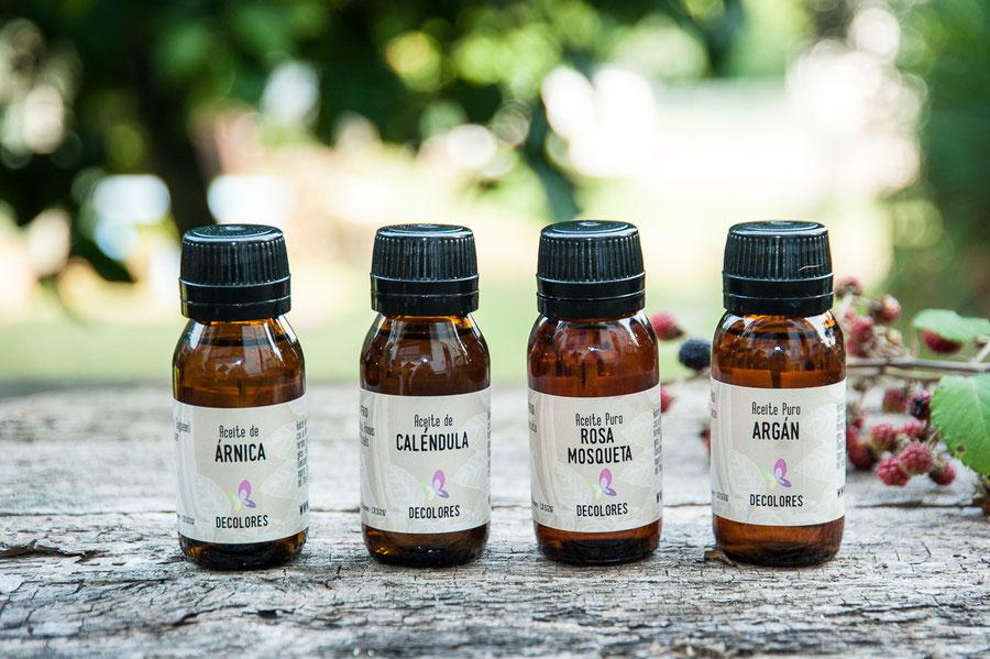 Aceites Vegetales puros, Hidratación y cuidado de la piel-decolores cósmetica natural ecológica