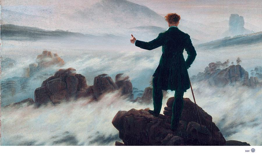 """""""Waiting for the Volkswagen"""" nach Caspar David Friedrich,  1818       -       VW /  SUV Kampagne"""
