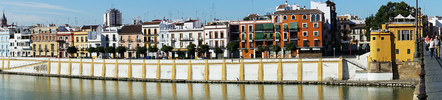 Photographie, Andalousie, Séville, Triana, fleuve, eau, pont, El Faro de Triana, couleurs, art, architecture, voyage, panoramique, vacances, Mathieu Guillochon