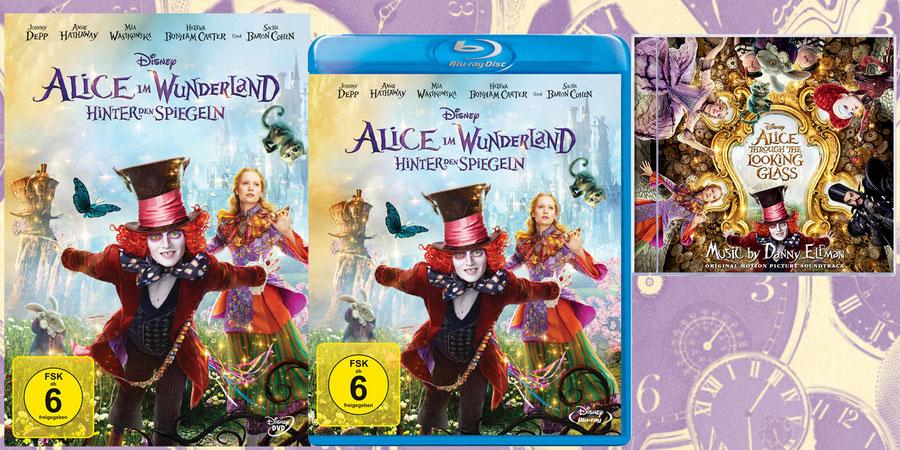 Alice im Wunderland Fanartikel Hinter den Spiegeln Blu-ray - Disney - kulturmaterial - Gewinnspiel