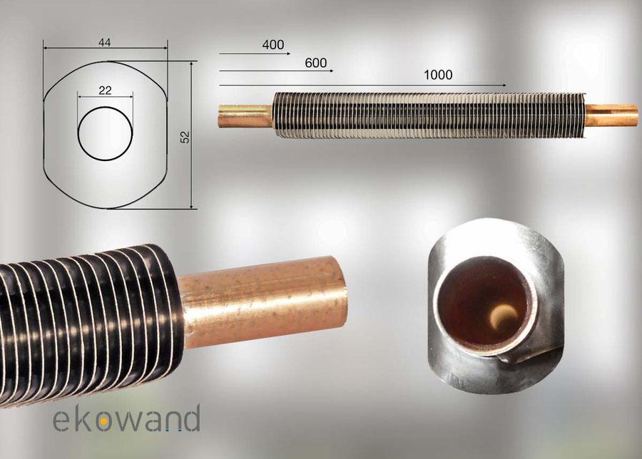 De warmteregisters zijn in drie lengten leverbaar en hebben standaard 22mm koperen uiteinden