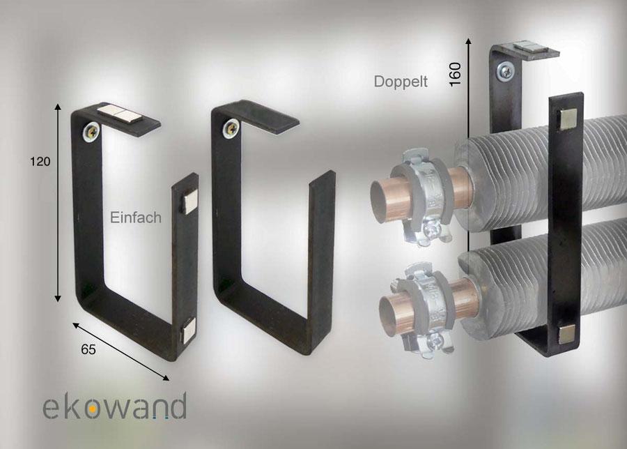Deze wandhouders dienen om de afdekprofielen (van Ekowand of naar eigen keuze) te bevestigen. Leverbaar met en zonder magneten
