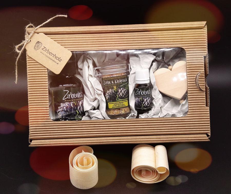 Zirben Duft Geschenk Set - Verschenken Sie die Wirkung und Eigenschaft der Zirbe