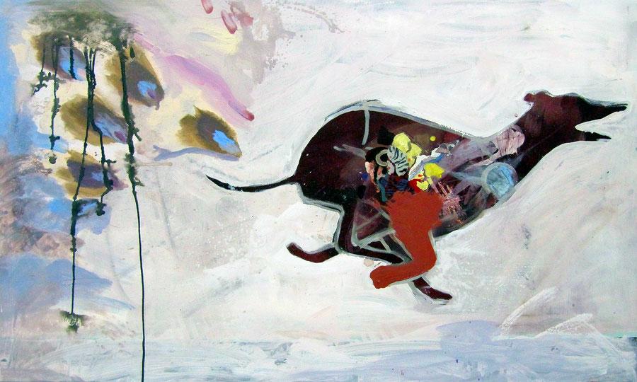 Gesine-Englert-Art-dogs-oil-painting-001.2011, Malerei, Kunst, Oil, Öl, Canvas, Leinwand, Portrait, Porträt, Art, Painter, Malerin, Modern, Hund rennt weg, Dog runs away,  Muster, pattern,