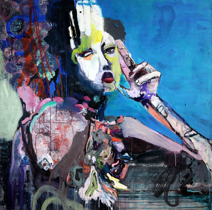Gesine-Englert-Art-faces2-oil-painting-030.2016, Frau mit großer Hand und großen roten Lippen, Woman with a large hand and big red lips, Malerei, Kunst, Oil, Öl, Canvas, Leinwand, Portrait, Porträt, Art, Painter, Malerin, Modern