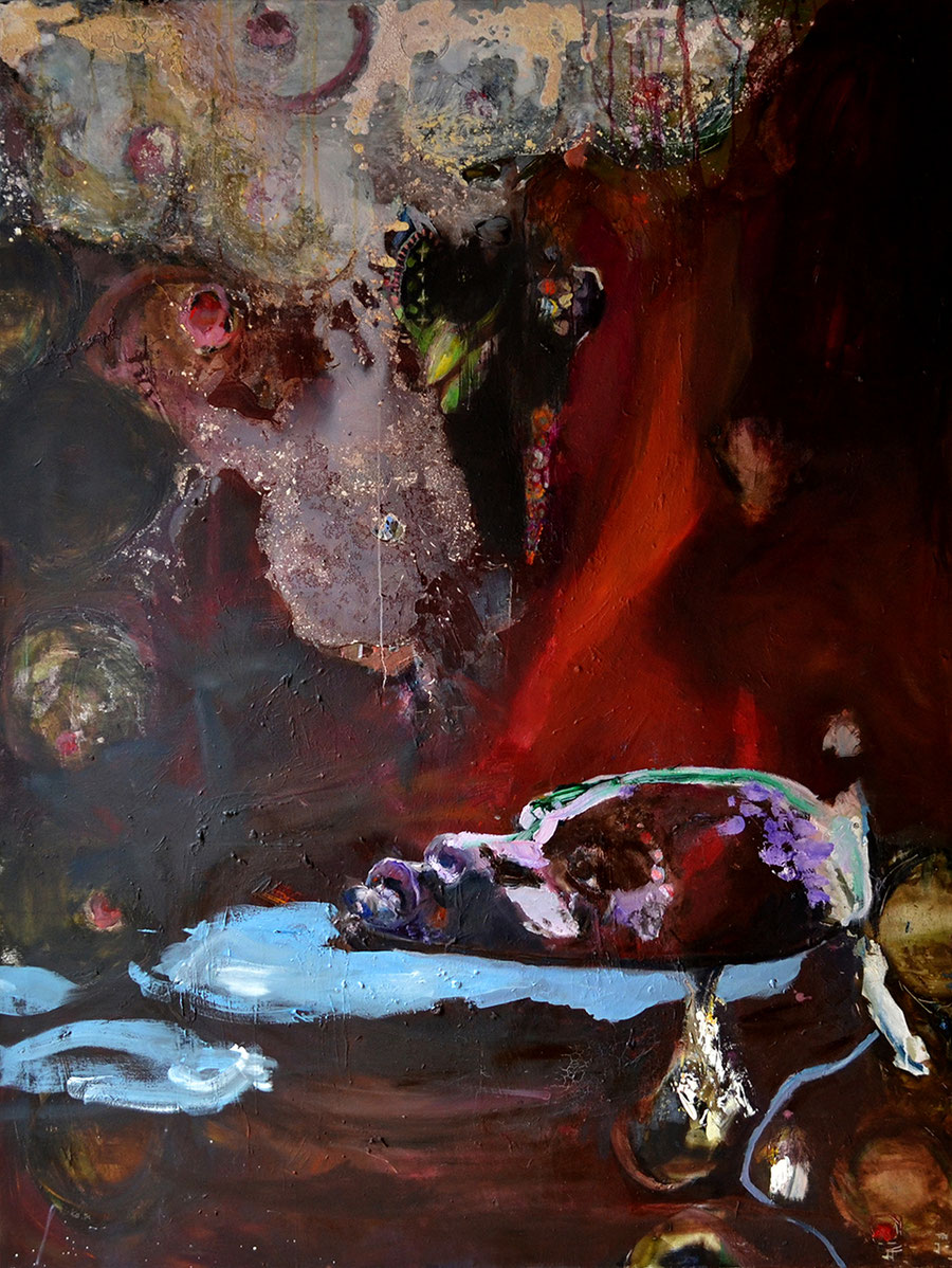 Gesine-Englert-Art-faces1-oil-painting-014.2015, Malerei, Kunst, Oil, Öl, Canvas, Leinwand, Portrait, Porträt, Mann, Schwarz, black, face, Gesicht, Wasser, water, schwimmen, swimming, Feuer, fire,  Art, Painter, Malerin, Modern