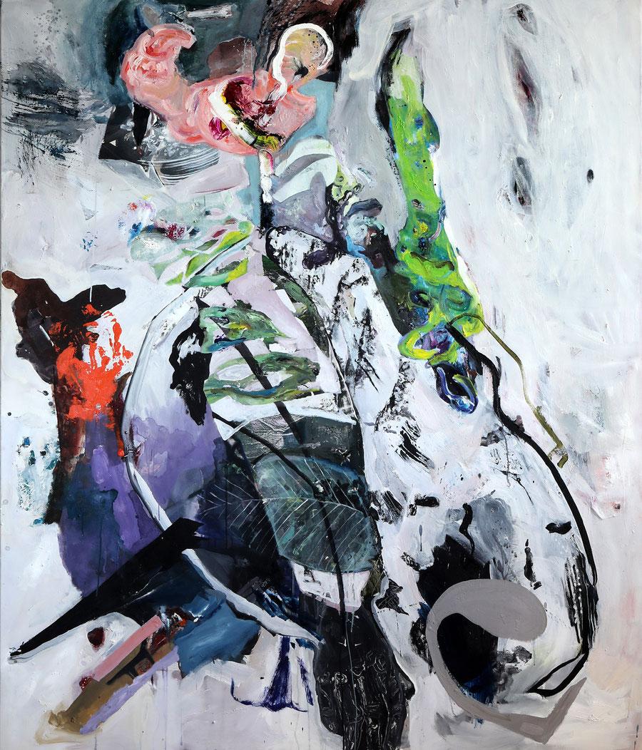 Gesine-Englert-Art-faces2-oil-painting-035.2017, Dicker Mann mit einer Garnelen am Kopf und Maske, Fat man with a shrimp on his head and mask in front of his eyes, Malerei, Kunst, Oil, Öl, Canvas, Leinwand, Portrait, Porträt, Art, Painter, Malerin, Modern