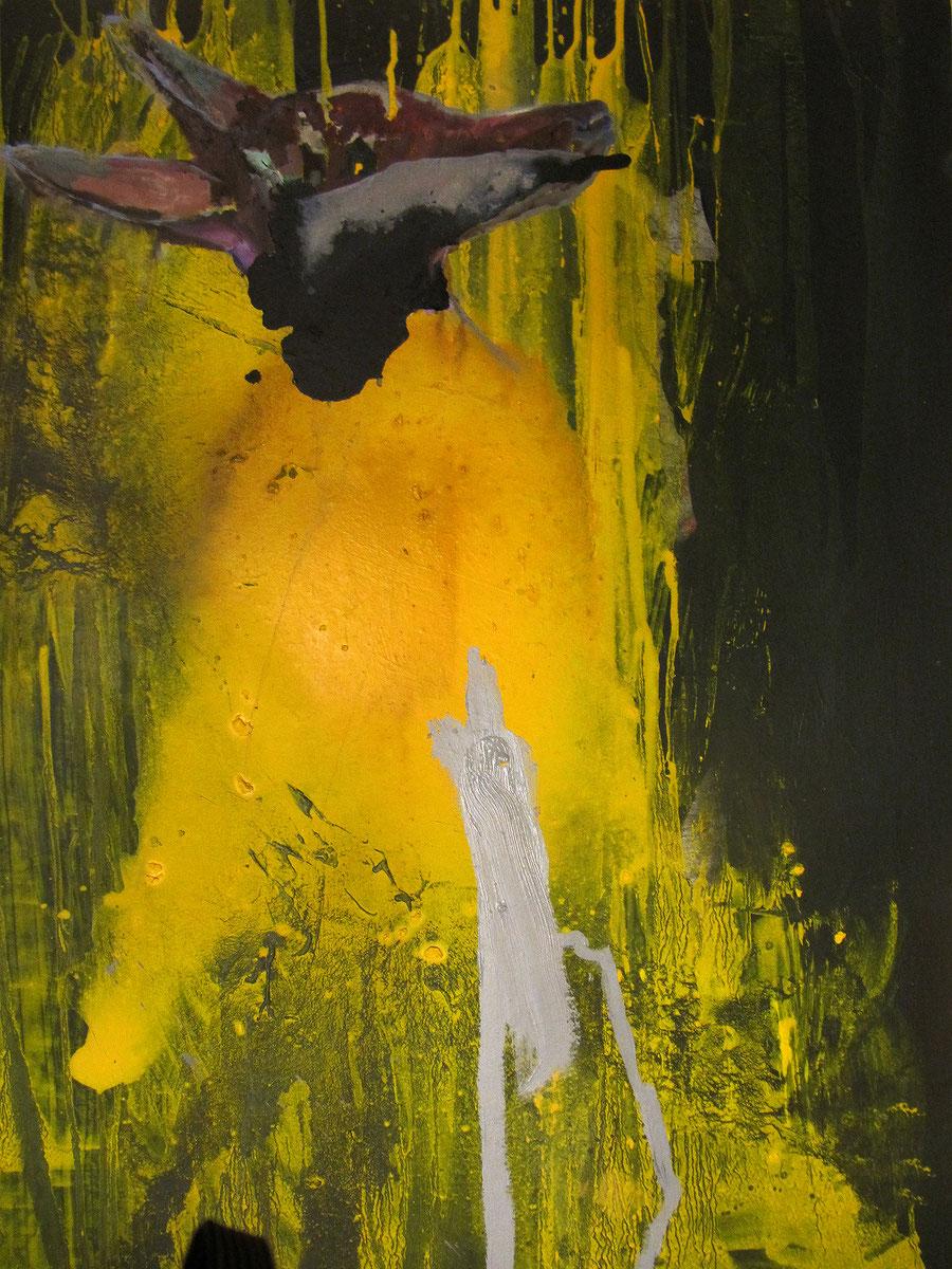 Gesine-Englert-Art-dogs-oil-painting-005.2011, Malerei, Kunst, Oil, Öl, Canvas, Leinwand, Portrait, Porträt, Art, Painter, Dog-head in yellow colour, Malerin, Modern, Hund-Kopf in gelber Farbe