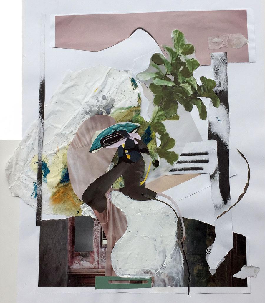 Gesine-Englert-Art-Collage-008.2017, Malerei, Kunst, Paper-Work, Art, Painter, Malerin, Modern, Portrait, Figur, Blätter, leaves, Schwarzer Mensch, eye, T-Shirt, Farbe