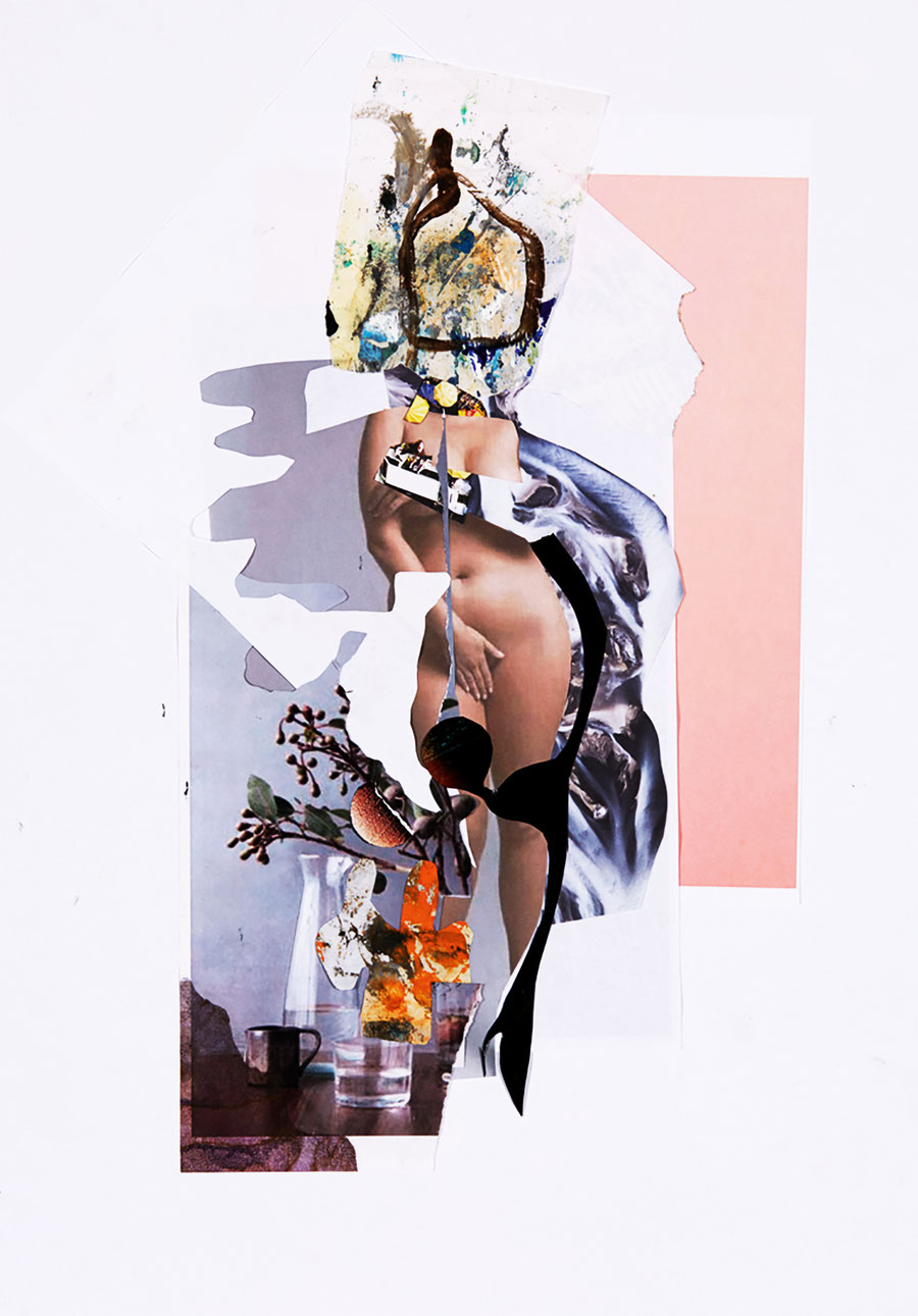 Gesine-Englert-Art-Collage-007.2017, Figur, Frau, female, nude, nackt, Hand, ashamed woman, branch, Ast, Wasserglas, Karaffe, Carafe, glas of water, mug, Becher, Beeren, berries, Parier, Farbe, Paint