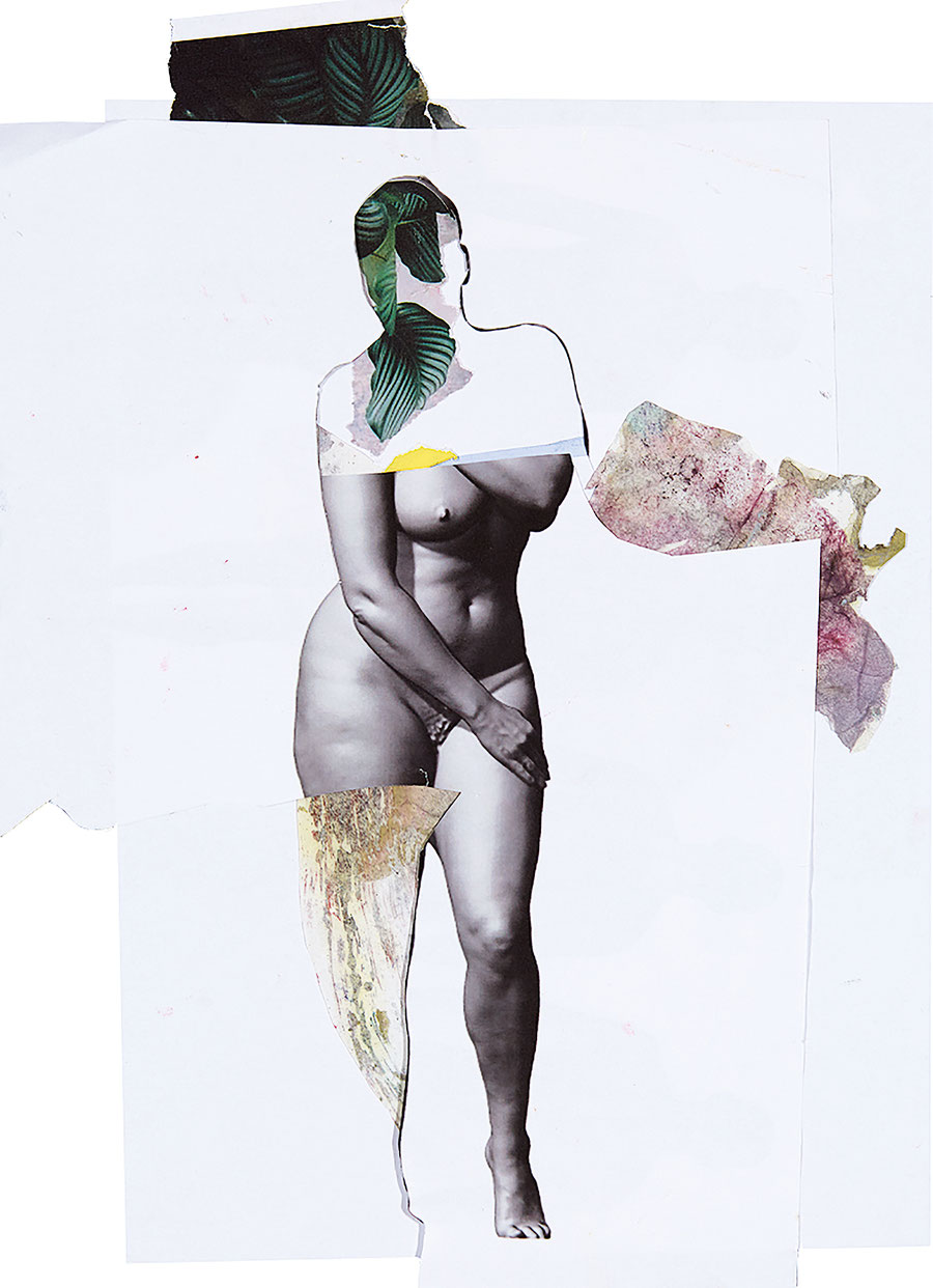 Gesine-Englert-Art-Collage-002.2017, Malerei, Kunst, Paper-Work, Art, Painter, Malerin, Modern, Figur, nackt, nude, ashamed woman, verschämte Frau, Blätter, leaves