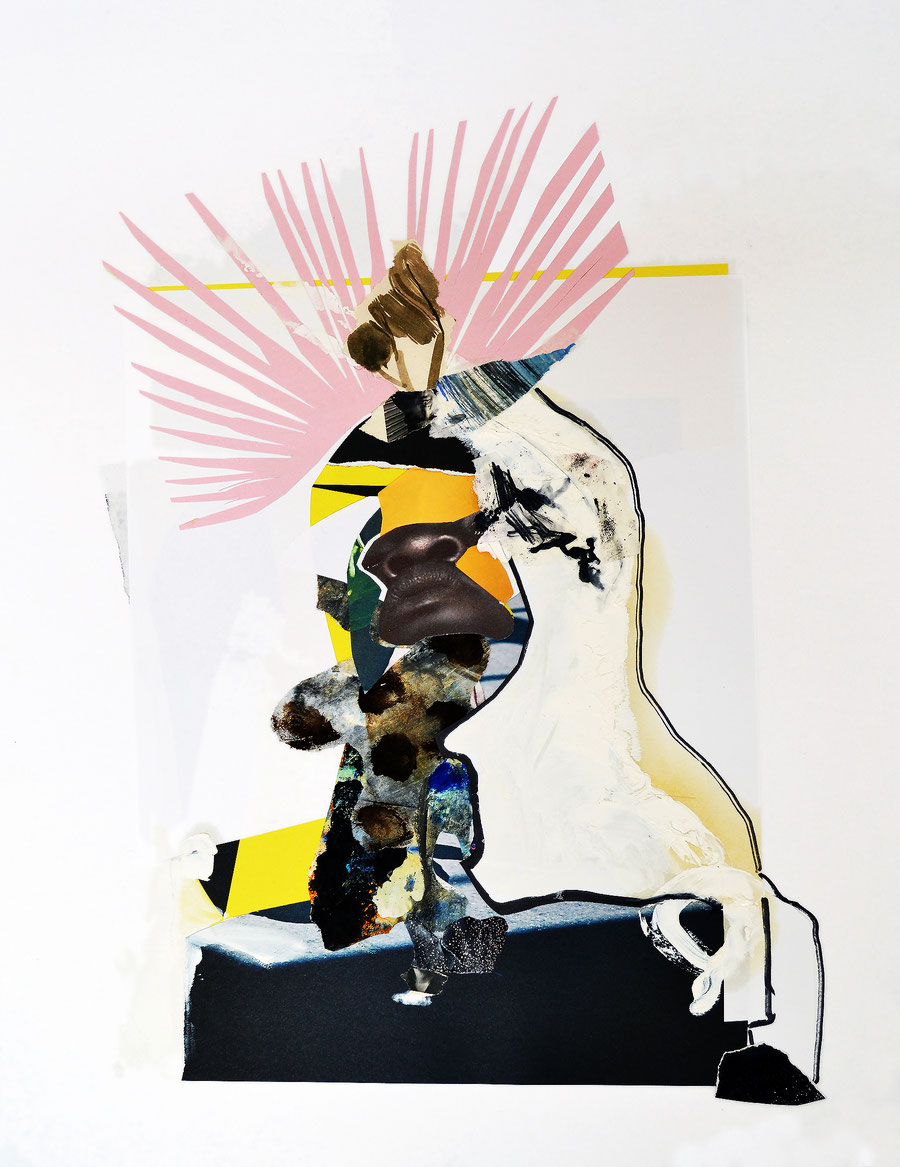 Gesine-Englert-Art-Collage-018.2017, Malerei, Kunst, Paper-Work, Art, Painter, Malerin, Modern, Portrait, Porträt, Kopf, Büste, King, König, Krone, crown, Schwarz, Gesicht, black, nose, Nase, Farbe, color