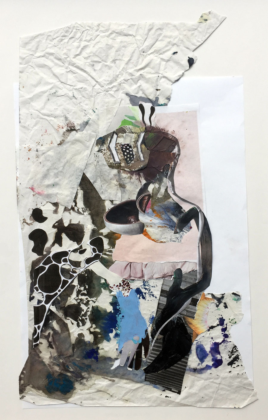 Gesine_Englert_#009.2017_collage, Malerei, Kunst, Paper-Work, Art, Painter, Malerin, Modern, Figur, Abstrakt, Flecken, Papier,