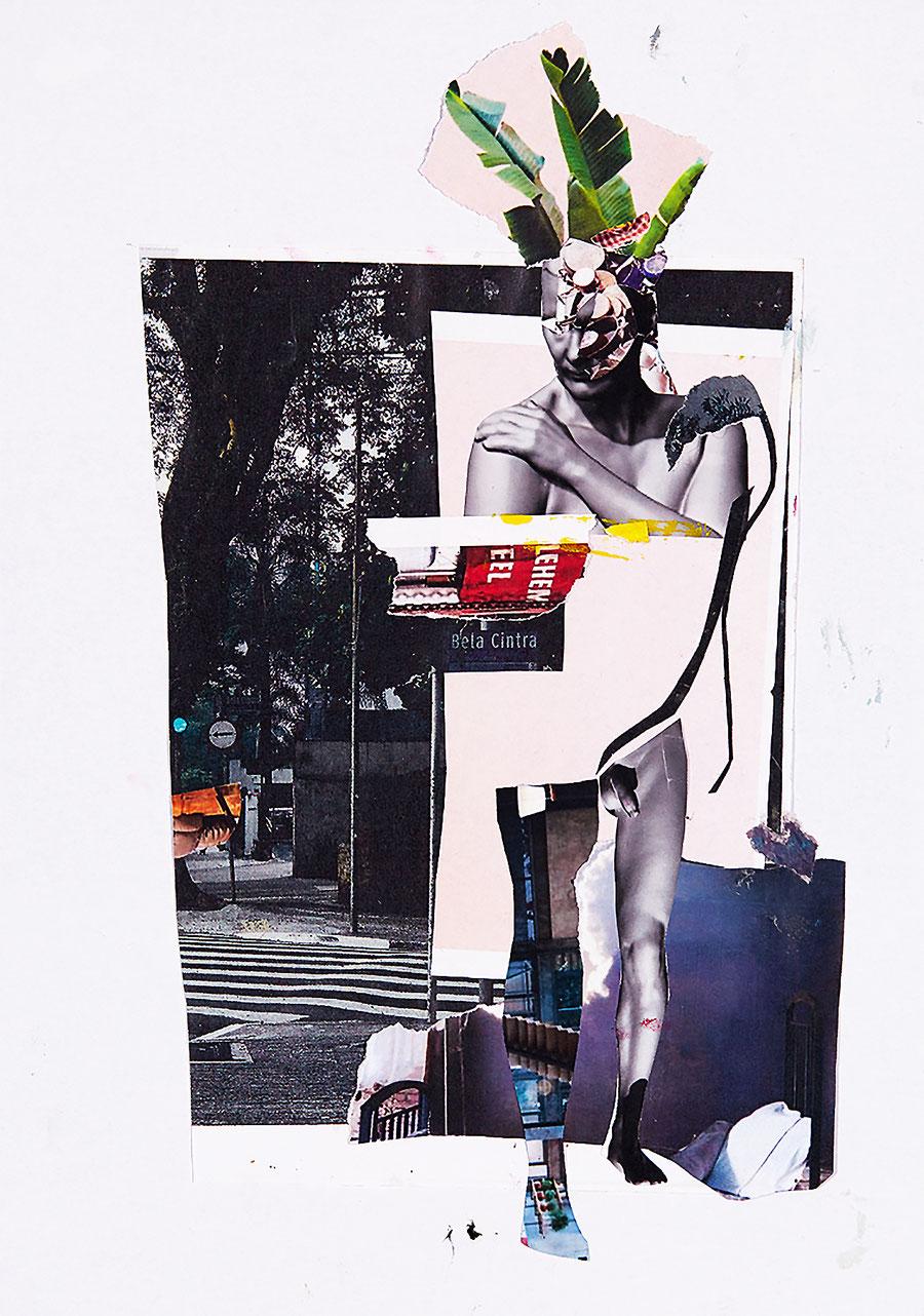 Gesine-Englert-Art-Collage-005.2017, Malerei, Kunst, Paper-Work, Art, Painter, Malerin, Modern, Portrait, Porträt, Figur, Büste, Mann, Nude, nackt, Blätter, Kopfschmuck, leaves, Zebrastreifen, crosswalk, tree, Baum, Mauer, wall, Malerei, Kunst, Paper-Work