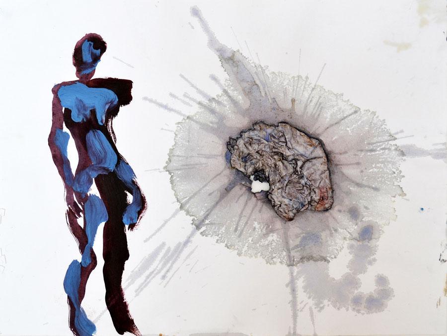 Gesine-Englert-Art-Collage-018.2017, Malerei, Kunst, Paper-Work, Art, Painter, Malerin, Modern, Portrait, Porträt, Kopf, Brüste, Figur, Mann, Frau, female, splash,