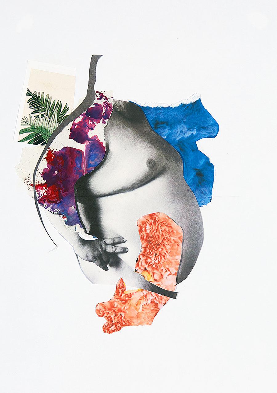 Gesine-Englert-Art-Collage-001.2017, Malerei, Kunst, Paper-Work, Art, Painter, Malerin, Modern, Portrait, Porträt, Kopf, Dick, fett, Bauch Bally, nude, nackt, Mann, man, Farbe, Paint, farbig, colorfull, leaves, Blätter,