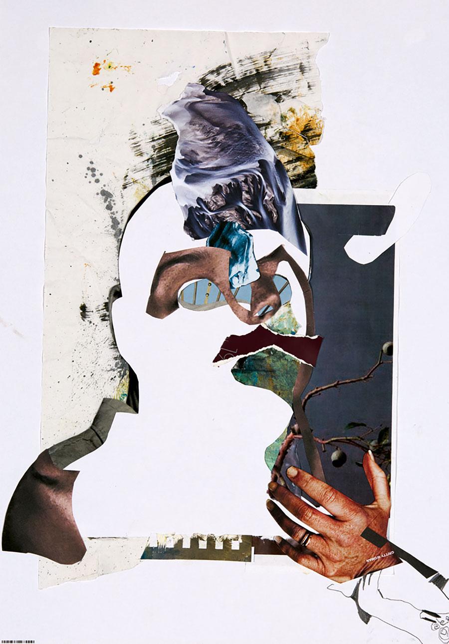 Gesine-Englert-Art-Collage-004.2017, Malerei, Kunst, Paper-Work, Art, Painter, Malerin, Modern, Portrait, Porträt, Kopf, Büste, Hand, Ast, branch, Beere, berry