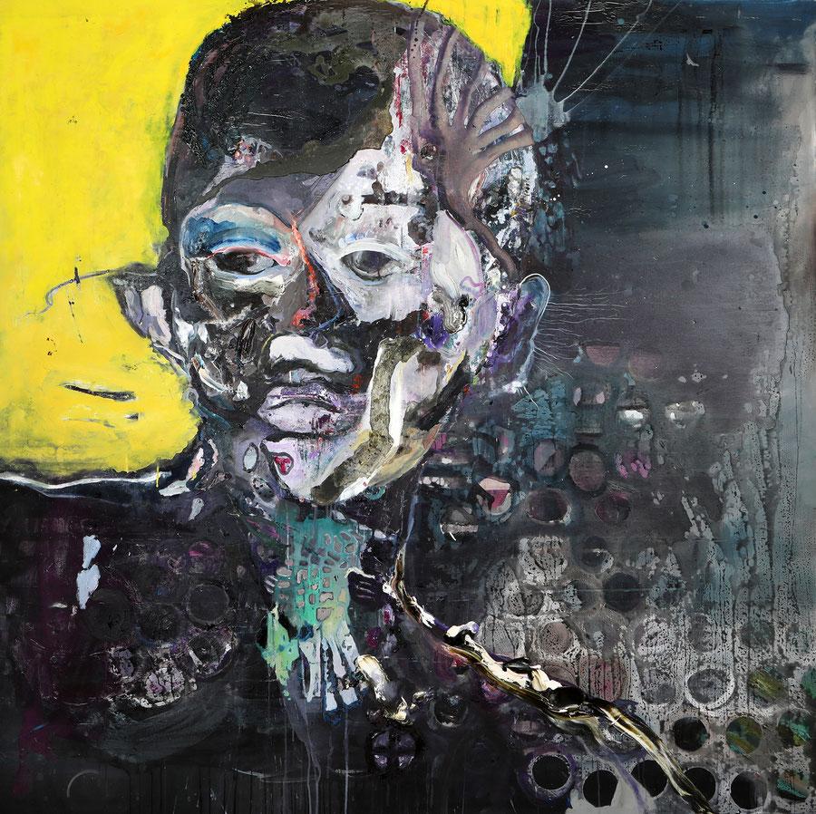 Gesine-Englert-Art-faces2-oil-painting-031.2016-2017, Schwarzer Männerkopf, Black male head, Malerei, Kunst, Oil, Öl, Canvas, Leinwand, Portrait, Porträt, Art, Painter, Malerin, Modern