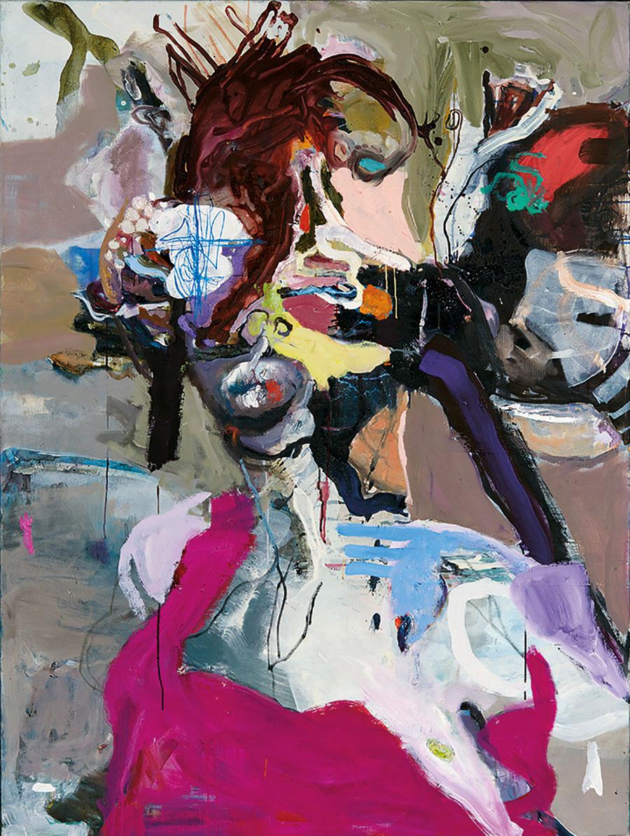 Gesine-Englert-Art-faces2-oil-painting-036.2018, Frau im rosa Kleid, Woman with pink dress, Malerei, Kunst, Oil, Öl, Canvas, Leinwand, Portrait, Porträt, Art, Painter, Malerin, Modern