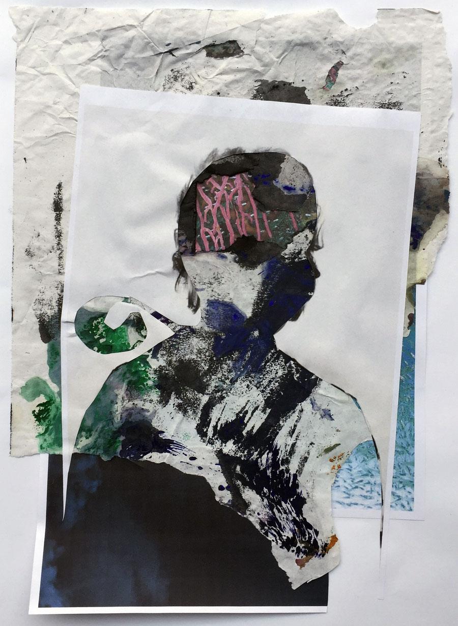 Gesine-Englert-Art-Collage-012.2017, Malerei, Kunst, Paper-Work, Art, Painter, Malerin, Modern, Portrait, Porträt, Kopf, Büste