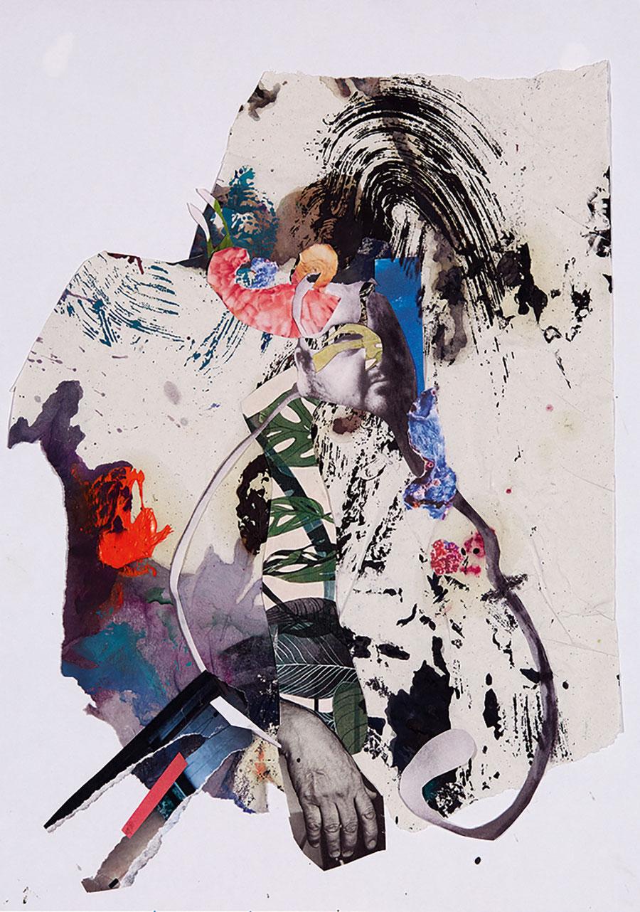 Gesine-Englert-Art-Collage-010.2017-2, Malerei, Kunst, Paper-Work, Art, Painter, Malerin, Modern, Portrait, Porträt, Mann, Dick, Bauch, Hand