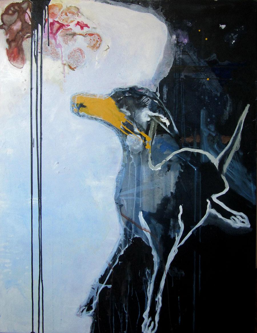 Gesine-Englert-Art-dogs-oil-painting-002.2011, Malerei, Kunst, Oil, Öl, Canvas, Leinwand, Portrait, Porträt, Art, Painter, Malerin, Hund mit gelber Schnauze, dog with yellow nose, Modern