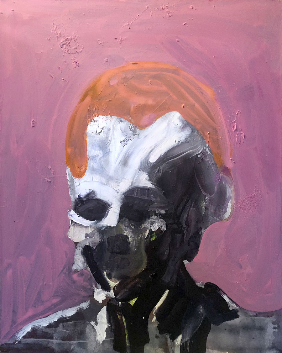Gesine-Englert-Art-NEW-oil-painting-043.2019, Schwarzer Mann mit orangener Haar-Haube vor rosa Hintergrund und mit weißer Stirn, Black man with orange hair-cap,  Malerei, Kunst, Oil, Öl, Canvas, Leinwand, Portrait, Porträt, Art, Painter, Malerin, Modern