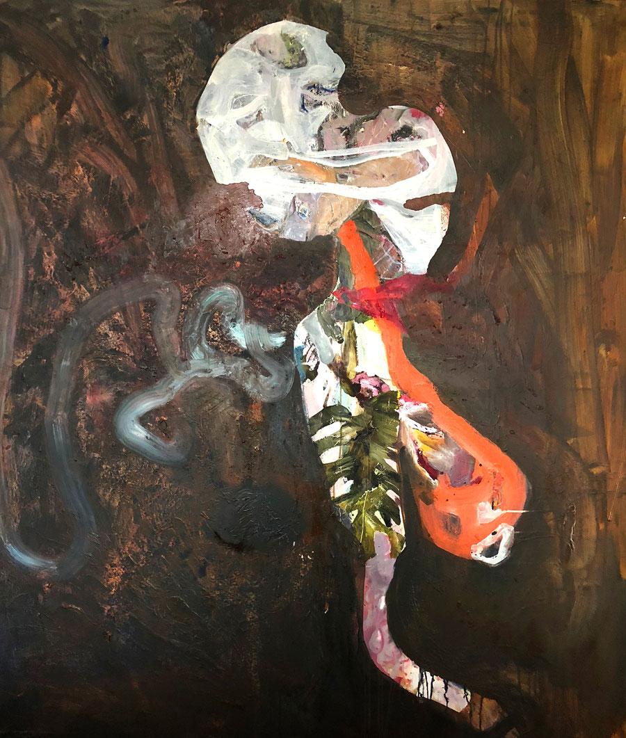 Gesine-Englert-Art-NEW-oil-painting-042.2019, Malerei, Kunst, Oil, Öl, Canvas, Leinwand, Geschöpf, Gestalt, Figur, Helm, helmed, Blatt, Leave, Schlauch, tube , Art, Painter, Malerin, Modern