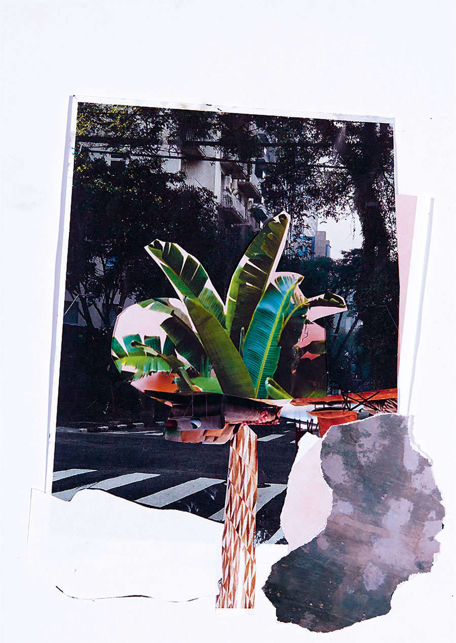 Gesine-Englert-Art-Collage-014.2017, Malerei, Kunst, Paper-Work, Art, Painter, Malerin, Modern, Baum, tree, Blätter, leaves, Palme, palm, Zebrastreifen, crosswalk, Hochhäuser, High rise building, Strasse, street, Möbel, stühle, furniture, chairs, Farbe, P