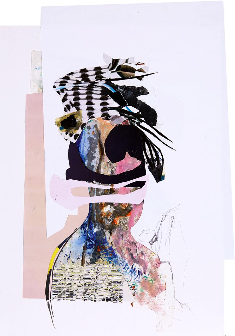 Gesine-Englert-Art-Collage-006.2017, Malerei, Kunst, Paper-Work, Art, Painter, Malerin, Modern, Portrait, Porträt, Kopf, Büste, Hut, hat on the head, Zeichnung, drawing, Papier, Farbe, Collage