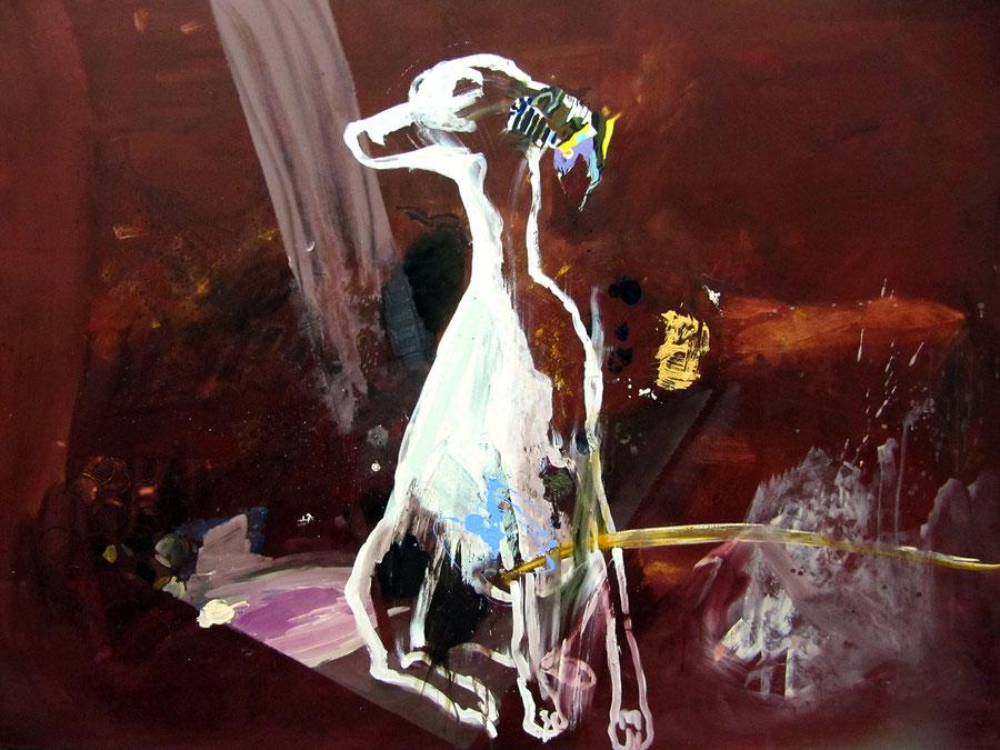 Gesine-Englert-Art-dogs-oil-painting-003.2011, Malerei, Kunst, Oil, Öl, Canvas, Leinwand, Portrait, Porträt, Art, Painter, Malerin, Modern, Dog pisses yellow stream, Hund pinkelt gelben Strahl,