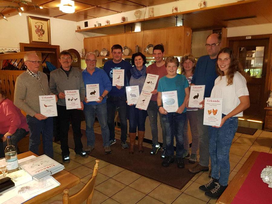 Im Rahmen der Vereinsversammlung wurden die Vereinsmeister 2018 geehrt.