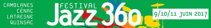 Bandeau Festival JAZZ360 2017, du vendredi 9 juin au dimanche 11 juin 2019. Graphisme : Ulysse Badorc