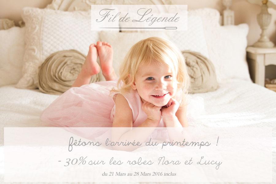 Bon de réduction sur les robes de cérémonie enfants Nora et Lucy Fil de Légende