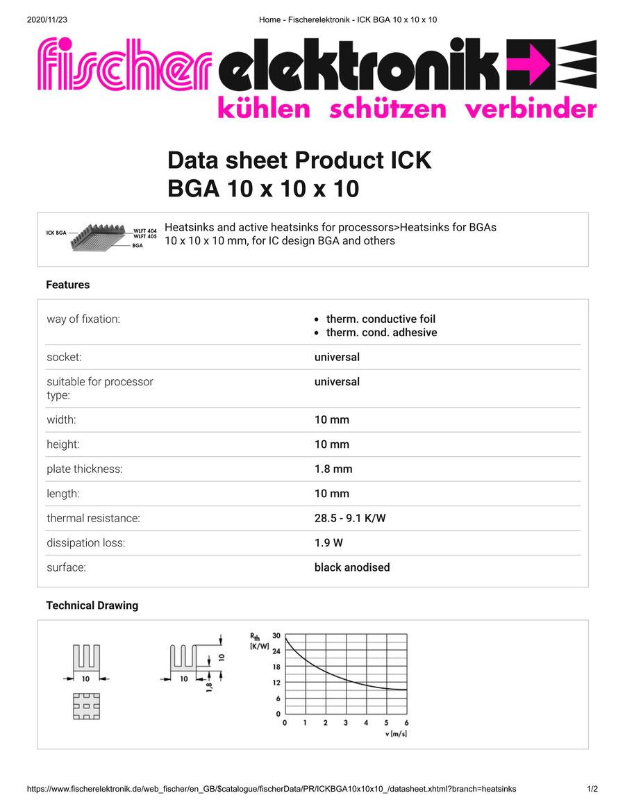 ICK BGA 10x10x10 Fischer / フィッシャー BGA用 ヒートシンク